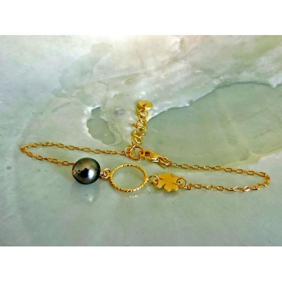 Trèfle - Bracelet Argent Doré et Véritable Perle de Tahiti
