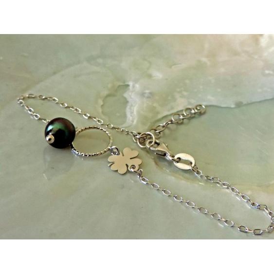 Trèfle - Bracelet Argent et Véritable Perle de Tahiti