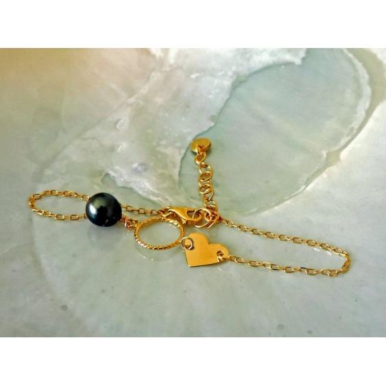 Love - Bracelet Argent Doré et Véritable Perle de Tahiti