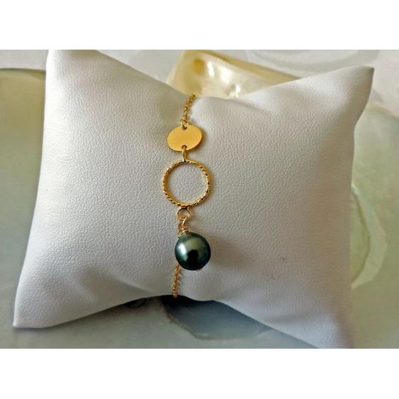 Hina - Bracelet Argent Doré et Véritable Perle de Tahiti