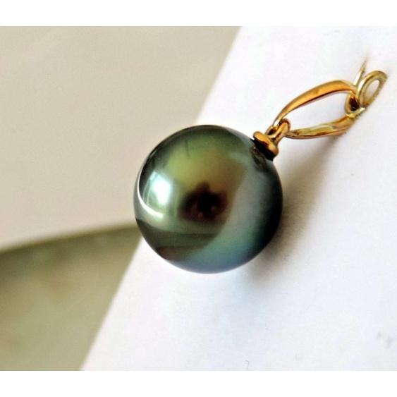 Hina Lune Verte - Pendentif Or Jaune et Perle de Tahiti