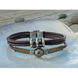 Mana - Bracelet Cuir et Véritable Perle de Tahiti