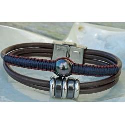 Kainui - Bracelet Cuir et Véritable Perle de Tahiti