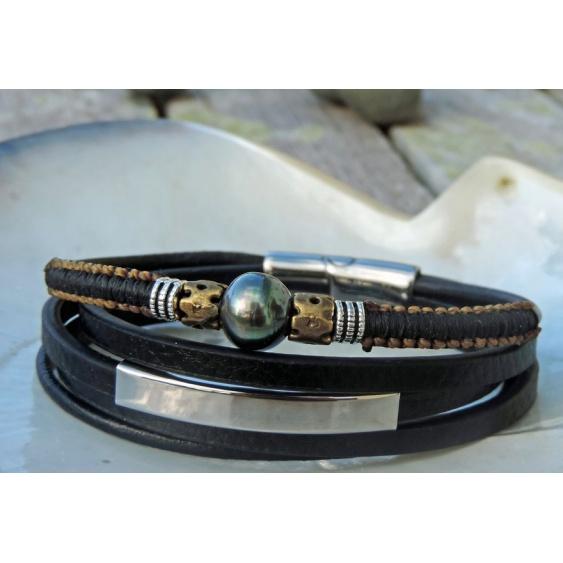 Aito - Bracelet Cuir et Véritable Perle de Tahiti