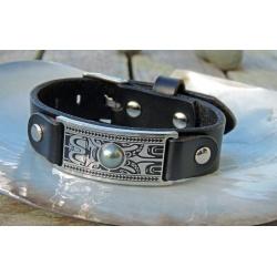 Tiki Toa - Bracelet Cuir, Acier Gravé et demi Perle de Tahiti