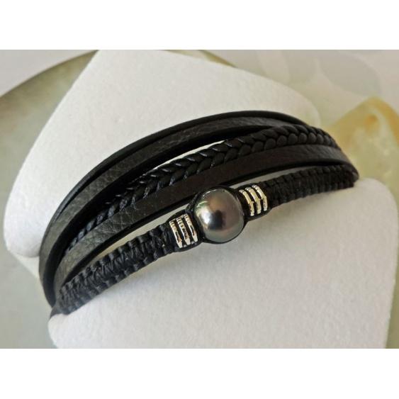 Temaruata - Bracelet Cuir et Véritable Perle de Tahiti