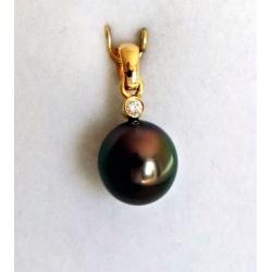 Goutte Sublime - Pendentif Or Jaune, Diamant et Perle de Tahiti