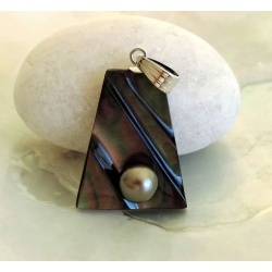 Hinanui - Pendentif Argent, Nacre et Perle de Tahiti
