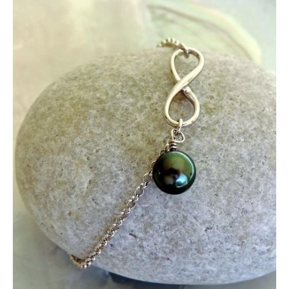 Infini - Bracelet Argent Rhodié et Véritable Perle de Tahiti