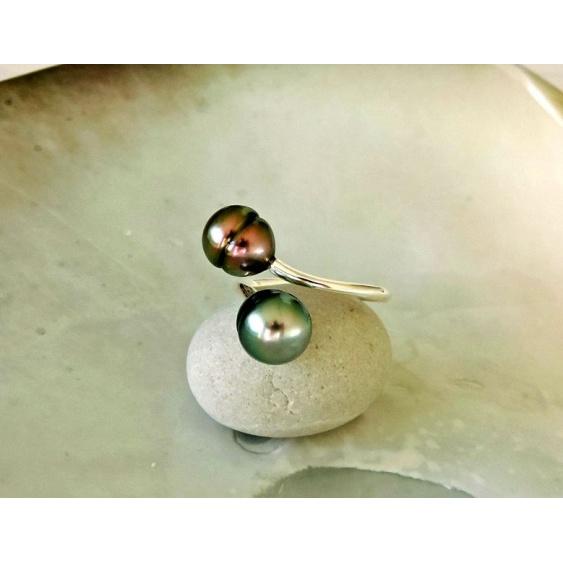 Vahia - Bague Argent Rhodié et Perles de Tahiti