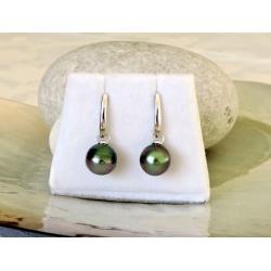 Hinatea - Boucles d'Oreilles Argent Rhodié et Perles de Tahiti