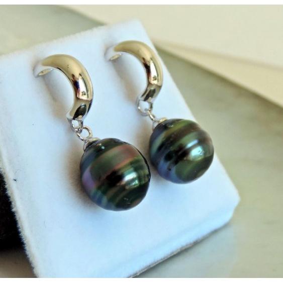 Hina - Boucles d'Oreilles Argent Rhodié et Perles de Tahiti