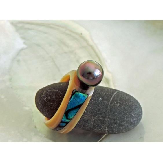 Anabella - Bague Nacre, Abalone et Perle de Tahiti
