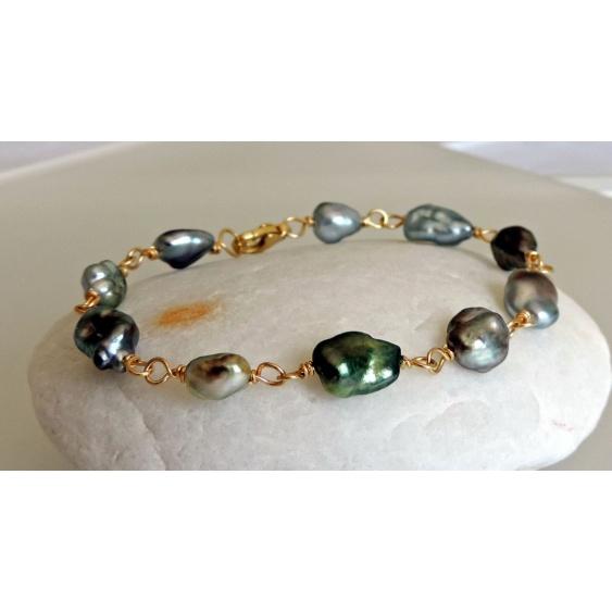 Keshis d'Amour - Bracelet en Or Jaune 18 carats et Keshis de Tahiti