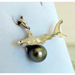 Shark- Pendentif Argent Rhodié et Perle de Tahiti