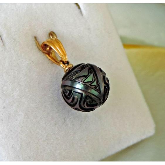 Tatoo - Pendentif Or et Perle de Culture Gravée de Tahiti