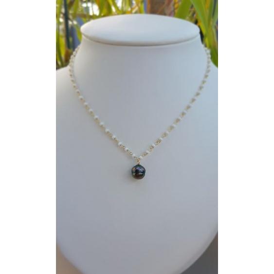 Moea - Collier Argent Rhodié et Véritable Perle de Tahiti
