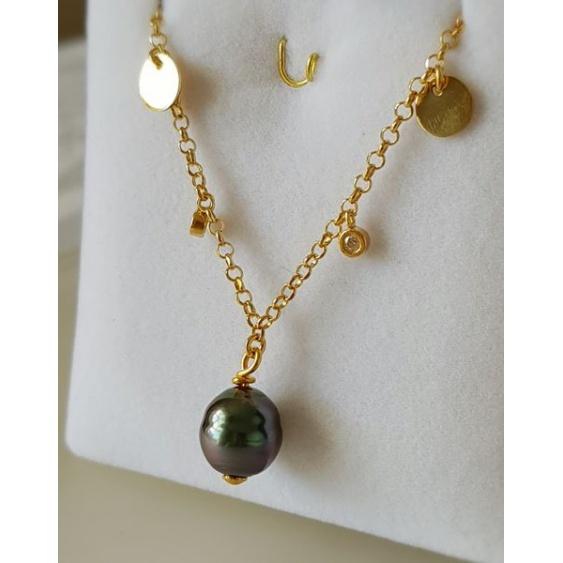 Heiva - Collier Argent doré et Véritable Perle de Tahiti