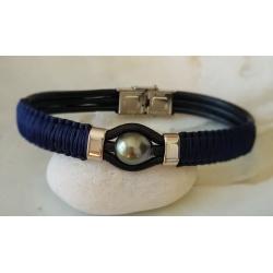 Herenui - Bracelet Cuir et Véritable Perle de Tahiti