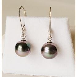 Moorea - Boucles d'Oreilles Argent Massif et Perles de Tahiti
