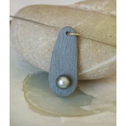 Poebreizh - Collier Ardoise et Véritable Perle de Tahiti