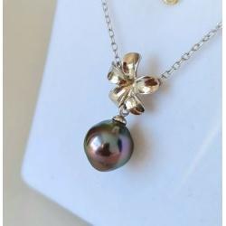 Fleur des Iles - Collier Argent Rhodié et Véritable Perle de Tahiti