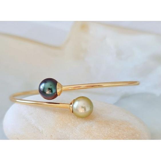 Toi&Moi Tuamotu - Bracelet Jonc en Or Jaune 18 carats et Véritables Perles de Tahiti