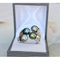 Maeva - Bague Argent Rhodié et Perles de Tahiti