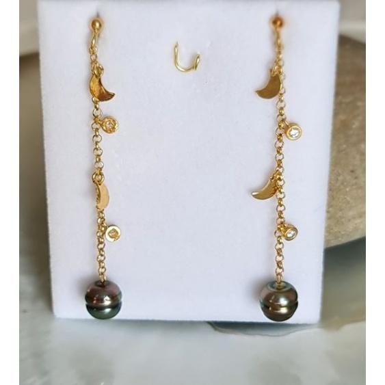 Des Perles et des Lunes - Boucles d'Oreilles Argent Doré et Perles de Tahiti