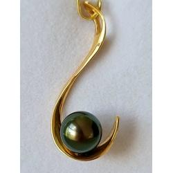 Rangiroa - Pendentif Or Jaune 18 carats et Véritable Perle de Tahiti