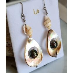 Maiao- Boucles d'Oreilles en Argent Rhodié et Véritables Perles de Tahiti