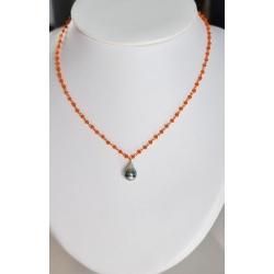 Moea - Collier Argent doré et Véritable Perle de Tahiti