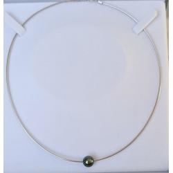 Rangiroa - Collier Omega Argent Rhodié et Véritable Perle de Tahiti