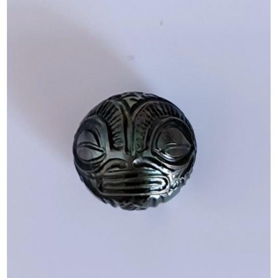 Tiki - Véritable Perle de Culture Gravée de Tahiti