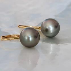 Bulles de Perles - Boucles d'Oreilles en Or Jaune et Perles de Tahiti