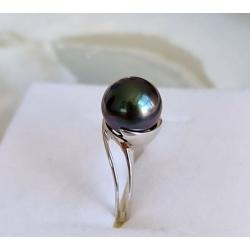 Perle d'Amour - Bague en Argent rhodié et Véritable Perle de Tahiti