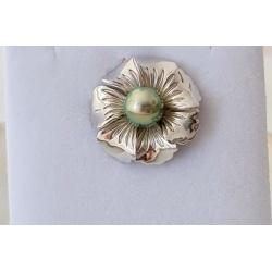 Hibiscus - Pendentif Argent Rhodié et Perle de Tahiti