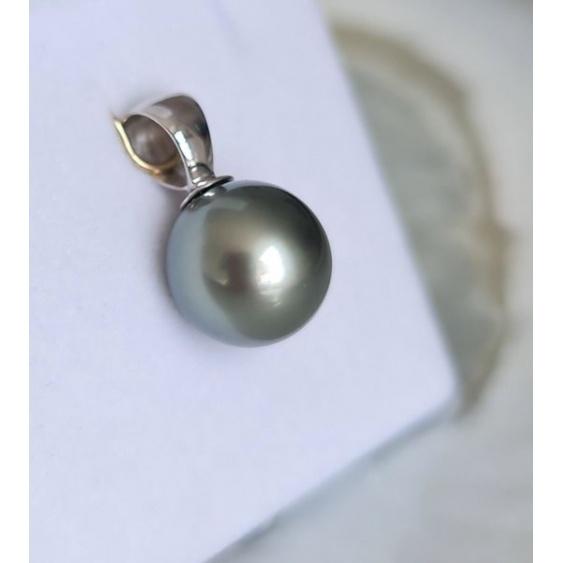 Lady Grey - Pendentif Or Blanc 18 carats et Véritable Perle de Tahiti