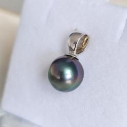 Lady Beauty - Pendentif Or Blanc 18 carats et Véritable Perle de Tahiti
