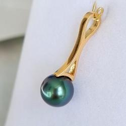 Arutua - Pendentif en Or Jaune et Véritables Perles de Tahiti