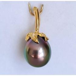 Larme des Dieux - Pendentif Or Jaune 18 carats et Véritable Perle de Tahiti