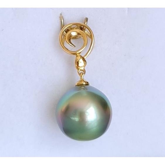 Larme du Lagon - Pendentif Or Jaune 18 carats et Véritable Perle de Tahiti
