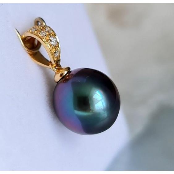 Perle d'exception - Pendentif Or, Diamants et Véritable Perle de Tahiti