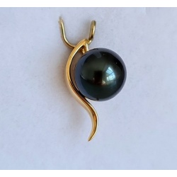 Lady Black - Pendentif Or Jaune 18 carats et Perle de Tahiti