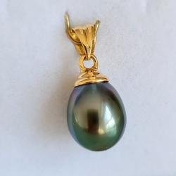 Hina Poe - Pendentif Or Jaune 18 carats et Véritable Perle de Tahiti