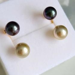 Duos D'Amour - Boucles d'Oreilles en Or Jaune et Véritables Perles de Tahiti