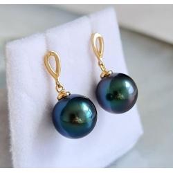 Bleues Sublimes - Boucles d'Oreilles en Or Jaune et Véritables Perles de Tahiti