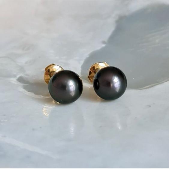 Perles Noires - Boucles d'Oreilles en Or Jaune et Véritables Perles de Tahiti