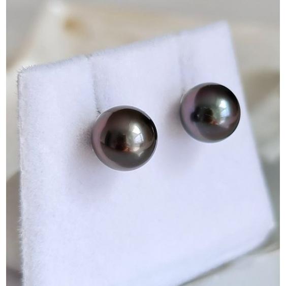 Perles de Pluie - Boucles d'Oreilles Or Blanc et Véritables Perles de Tahiti