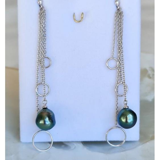 Mariata - Boucles d'Oreilles Argent Rhodié et Véritables Perles de Tahiti